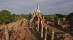 Wat Ratchaburana is a Buddhist temple in the Ayutthaya Historical Park Stock Footage