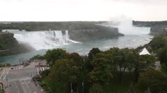 Niagara Falls full view from up high Stock Footage