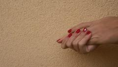 Woman applying hand lotion.Red nails Stock Footage