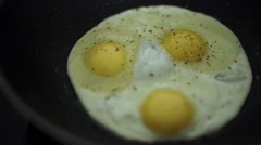 Close up view of the fried egg on a frying pan Stock Footage