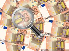 Magnifier on fifty euro background Stock Illustration