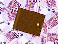Wallet on five hundred euro background Stock Illustration