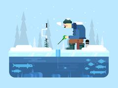 Man on winter fishing Stock Illustration