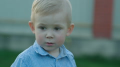 Nice Little Boy Outdoor Stock Footage