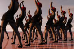Stock Illustration of Jazz Dance Troop On A Large Outdoor Stage