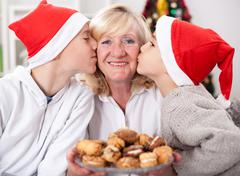 Happy grandsons,family, holidays, generation, Christmas and people concept Stock Photos