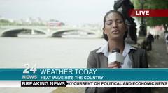 Stock Video Footage of 4K Female weather reporter doing live piece to camera outdoors in the city