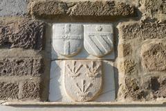 Knight Symbols in Bodrum Castle from Mugla, Turkey - stock photo