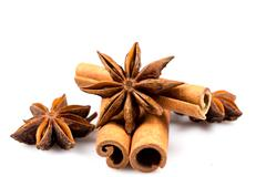 Stars anise and Cinnamon - stock photo