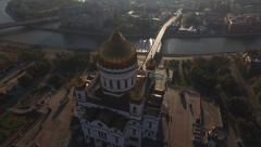 Flying over the city of Moscow Christ the Savior Cathedral aerial Stock Footage