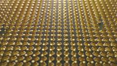 Pins of central processing unit of computer. Macro dolly shot Stock Footage