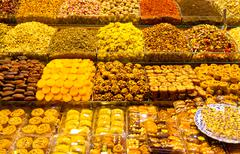 Turkish Sweets and Teas from Spice Bazaar, Istanbul - stock photo