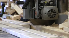 Worker Cutting Wood Board With Circular Saw Stock Footage