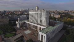 Flying over the city buildings aerial Moscow House Government of the Russian Fed Stock Footage