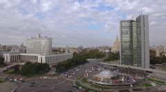 Flying over the city buildings aerial Moscow House Government of the Russian Fed - stock footage