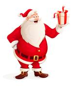 Merry Santa Claus with Christmas gift in hand - stock illustration