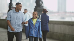 Happy African American father & son sightseeing in London - stock footage