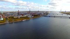 Aerial view to the Riga city and river Daugava Stock Footage