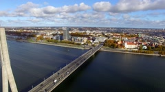 aerial view to the city traffic on bridge in Riga, Latvia - stock footage