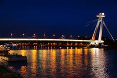 Stock Photo of night illumination of Danube river from SNP Bridge