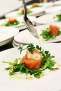 Plated appetizer food Stock Photos
