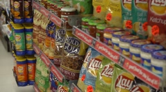 Unhealthy Groceries in Convenience store aisle - Corner Store - stock footage
