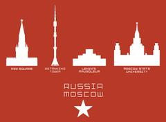 Russia Moscow city shape silhouette icon set -Red Square, Ostankino Tower, Lenin Stock Illustration