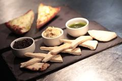 Bread appetizer platter Stock Photos