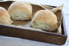 fresh baked bread buns - stock photo