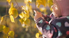 Little cheerful girl in fall foliage. Smiles. Stock Footage