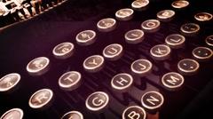 Typewriter Key Pan Warm Filter Stock Footage