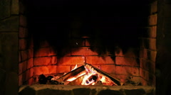 Fireplace. Burning flame. - stock footage