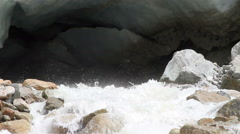 River flowing from Cave Stock Footage