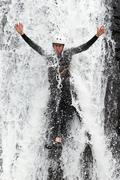 Extreme Canyoning Waterfall Fun Stock Photos
