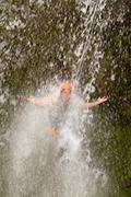 Canyoning Waterfall Jump - stock photo