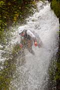 Stock Photo of Canyoning Waterfall Descent