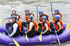 Group Photo Before Whitewater River Rafting Trip Stock Photos