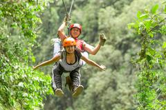 Tandem Zip Line - stock photo