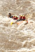 Whitewater River Rafting Boat Adventure - stock photo