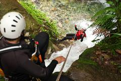 Stock Photo of Canyoning Zip Line