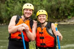 Adult Couple Prepared For Whitewater River Rafting Stock Photos