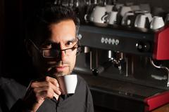 Coffee Sommelier Tasting The Product Stock Photos