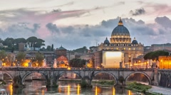 Time lapse of blue hour on Vatican with zoom effect - stock footage