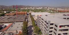 West Hollywood skyline building construction site parking lot aerial Los Angeles Stock Footage