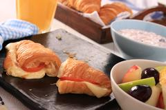 fresh continental breakfast - stock photo