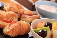 mixed continental breakfast - stock photo