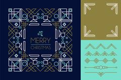Merry christmas mono line set ornament frame deco Stock Illustration