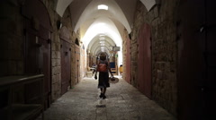 Alley in old Acre middle east market, Israel Stock Footage