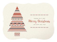Merry christmas happy new year geometry tree shape - stock illustration