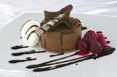 plated chocolate dessert - stock photo